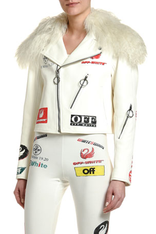 Off-White Shearling Collar Logo-Print Leather Aviator Jacket