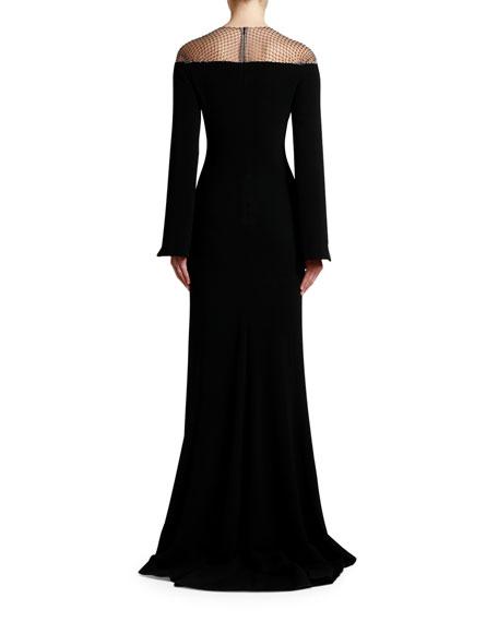 Stella McCartney Crystal Mesh Cape-Sleeve Cady Gown