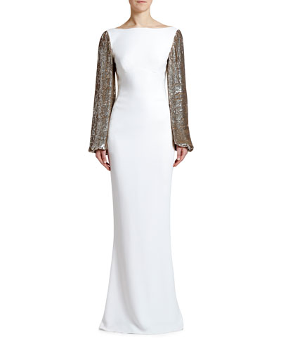 Boat-Neck Golden Sequined-Sleeve Gown