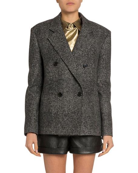 Saint Laurent Cashmere Plaid Double-Breasted Boxy Jacket