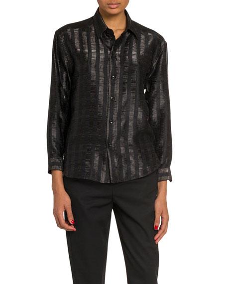 Saint Laurent Metallic Stripe Long-Sleeve Button-Down Blouse