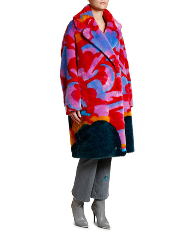 Beatles Yellow Submarine Intarsia Faux-Fur Coat