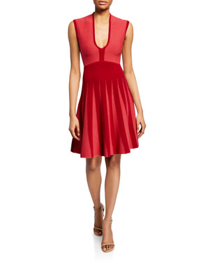 eb1d776320d Emporio Armani Pleated Knit Jacquard Cocktail Dress