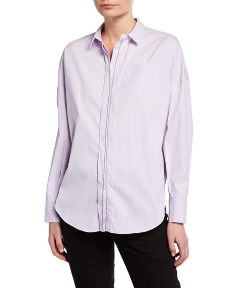 Brunello Cucinelli Monili-Beaded Poplin Shirt