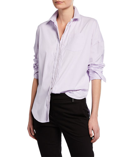 Monili-Beaded Poplin Shirt