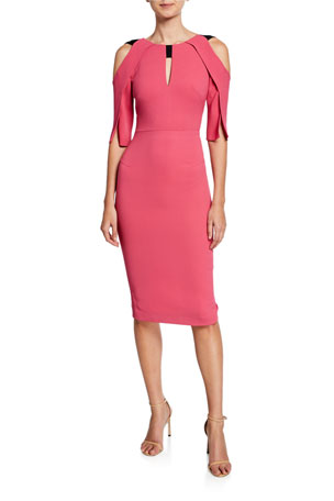 Roland Mouret Keeling Keyhole Slit-Sleeve Midi Sheath Dress