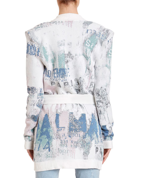 Balmain Graffiti Jacquard Cardigan Sweater
