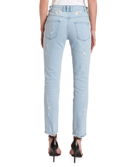 Balmain Washed Slim-Fit Distressed Jeans