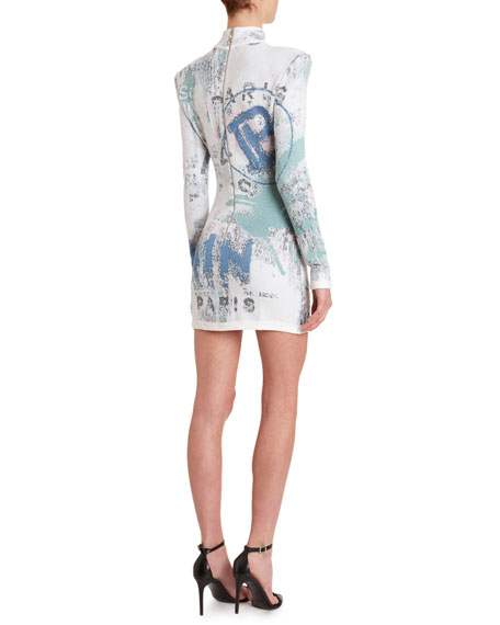 Balmain Mock-Neck Long-Sleeve  Graffiti Jacquard Dress