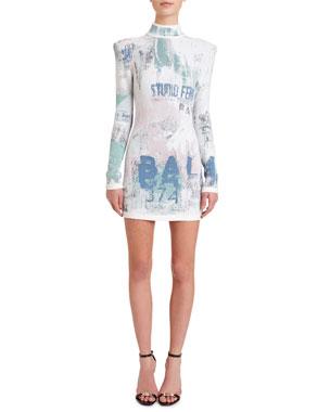 66d791c7 Balmain Mock-Neck Long-Sleeve Graffiti Jacquard Dress