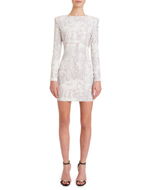 13091663a6fc1 Balmain Long-Sleeve Pastel Stud Cocktail Dress
