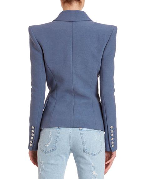 Balmain 6-Button Peak-Lapel Cotton Blazer Jacket