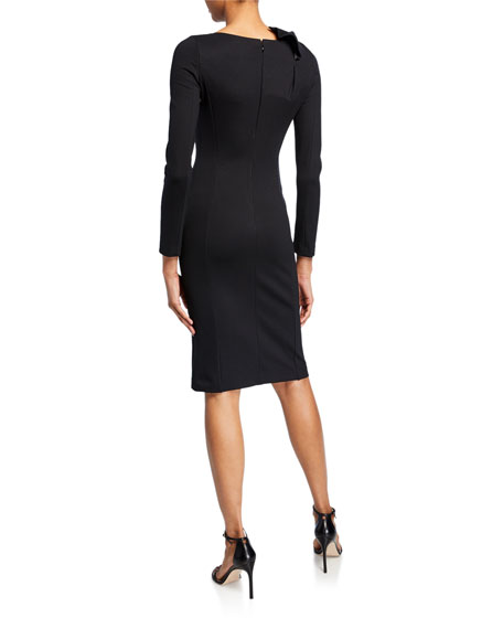 Long-Sleeve Milano Jersey Dress with Bow