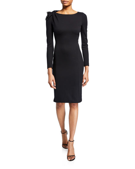 Emporio Armani Long-Sleeve Milano Jersey Dress with Bow