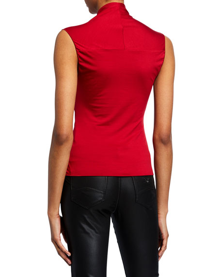 Sleeveless Ruched-Front Jersey Top