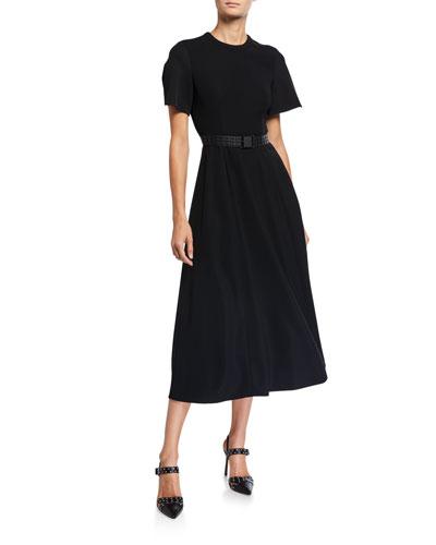Short-Sleeve Belted A-Line Dress