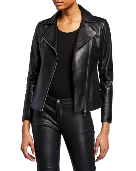 Zip-Front Knit-Trim Leather Moto Jacket