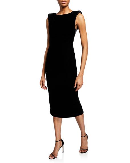 Satin-Trim Velvet Cocktail Dress