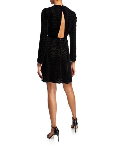 Open-Back Wavy Lace & Velvet Cocktail Dress
