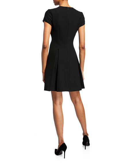Short-Sleeve Cady Pleated-Skirt Dress