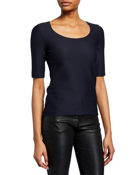 Scoop-Neck Wave-Textured Shell