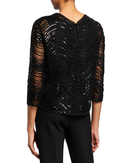 Sequined & Beaded 3/4-Sleeve Evening Top