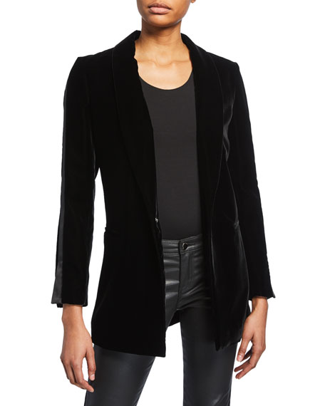 Satin-Piped Velvet Easy 1-Button Jacket