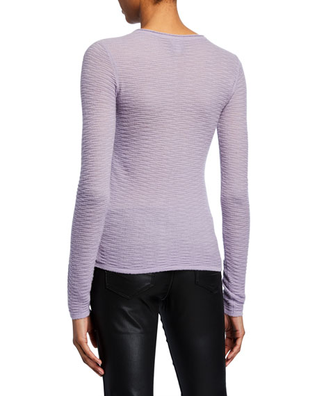 Cashmere Textured-Knit Crewneck Sweater