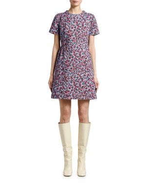 4682bef7d198 Marni Inate Floral-Print Denim Short-Sleeve Dress