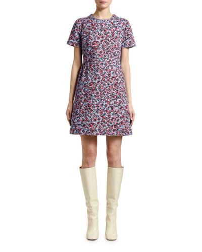 Inate Floral-Print Denim Short-Sleeve Dress