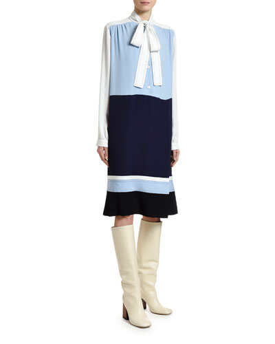 Colorblocked Washed Crepe Silk Dress