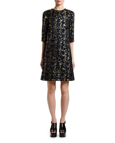 3/4-Sleeve Brocade Shift Dress