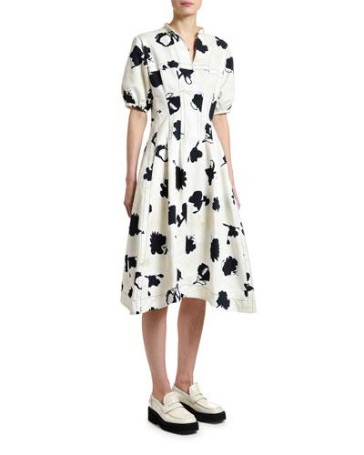 Short-Sleeve Floral Gabardine Dress