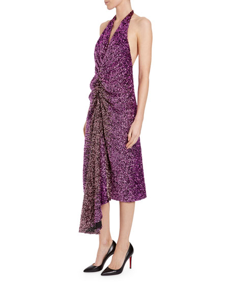 Halpern Ruched Degrade Sequin Dress