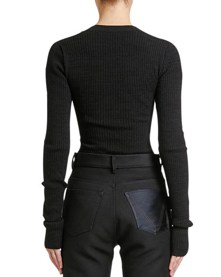 Bottega Veneta Scoop-Neck Ribbed Long-Sleeve Sweater