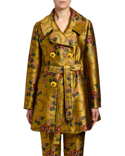 6720b28be85 Flower Jacquard Double-Breasted Coat