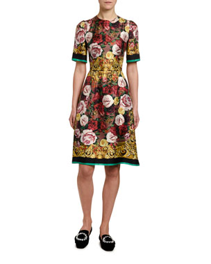 b3dc79f9e60 Dolce   Gabbana Short-Sleeve Silk Twill Baroque Dress