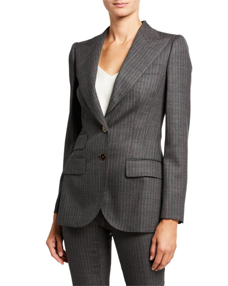 Image 2 of 3: Dolce & Gabbana Pinstripe Stretch-Wool Blazer Jacket