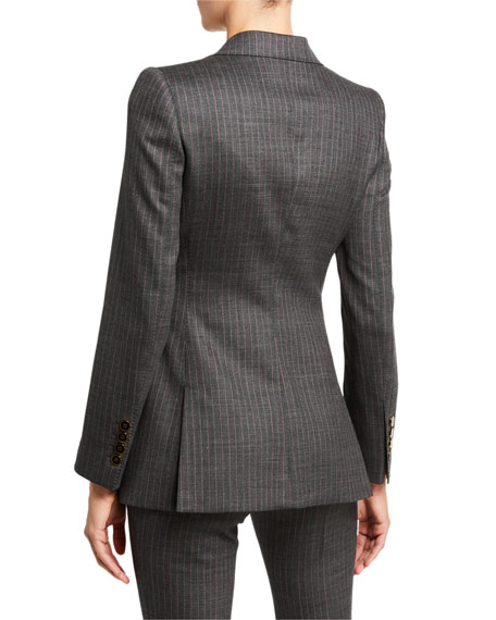 Image 3 of 3: Dolce & Gabbana Pinstripe Stretch-Wool Blazer Jacket