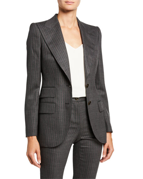 Image 1 of 3: Dolce & Gabbana Pinstripe Stretch-Wool Blazer Jacket