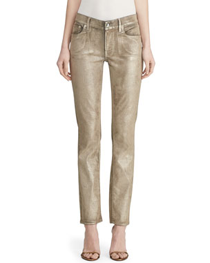 bcf0d2691b Ralph Lauren Collection Metallic Painted Skinny Jeans