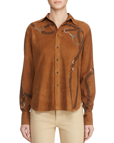 Malory Artisan Harness-Print Suede Button-Front Shirt