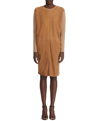 Long-Sleeve Suede Front Dress