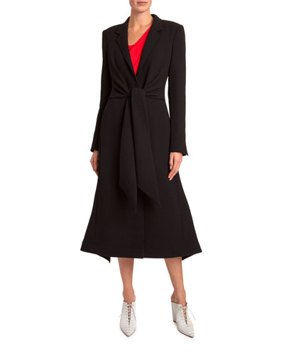 Hollywell Tie-Waist Wool Flutter-Hem Coat