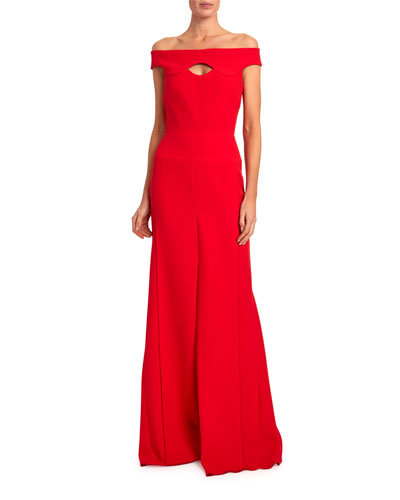 Elly Off-the-Shoulder Keyhole-Neck Gown