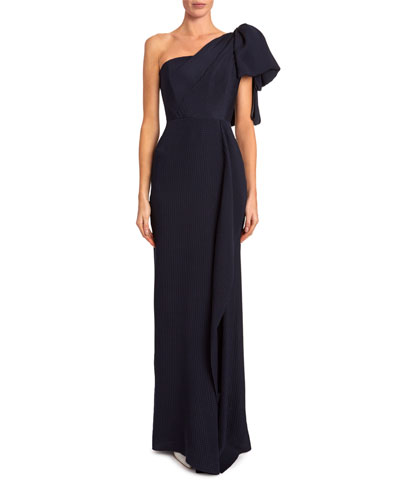 Belhaven One-Shoulder Asymmetric Wave Gown