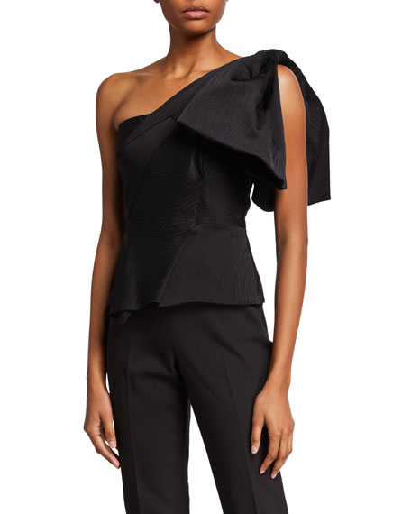 Roland Mouret One-Shoulder Fitted Peplum Top