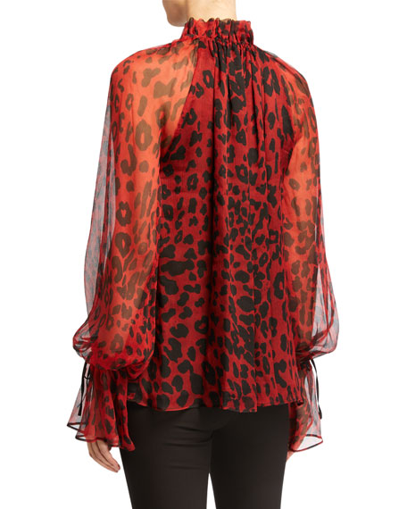Redemption Silk Leopard-Print Oversized Blouse