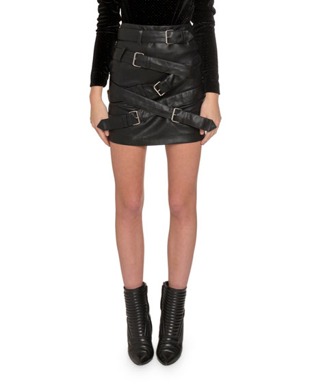 Redemption Skirts BUCKLE-FRONT FAUX LEATHER MINI SKIRT