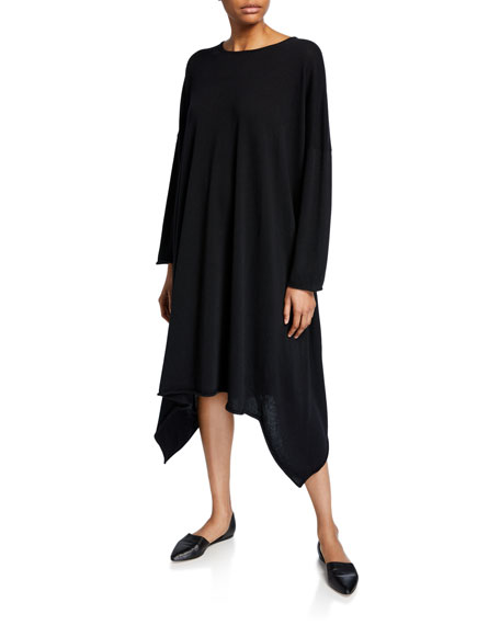 Eskandar Cashmere Side-Cascading Boat Neck Dress